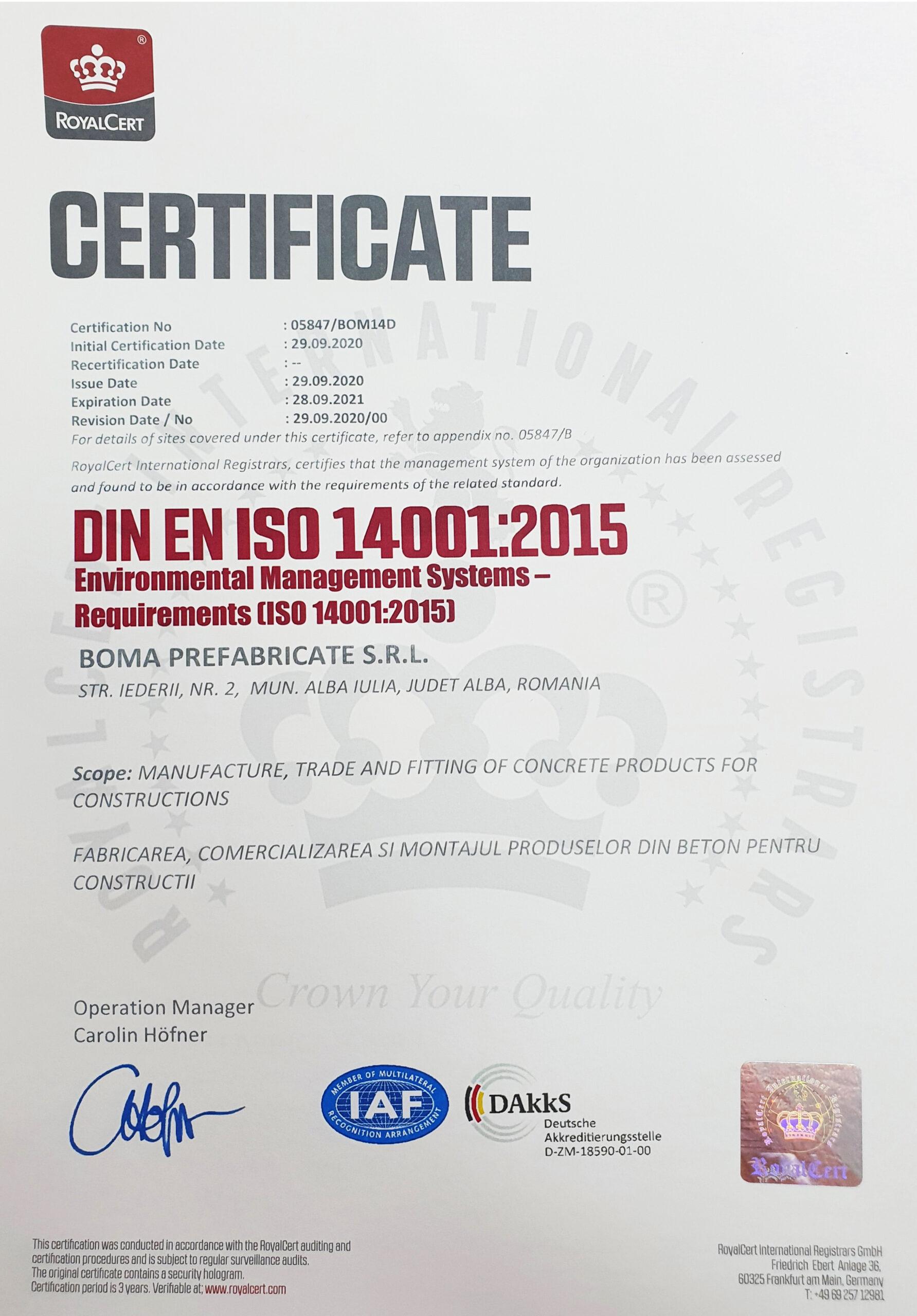 ISO BOMA 14001:2015