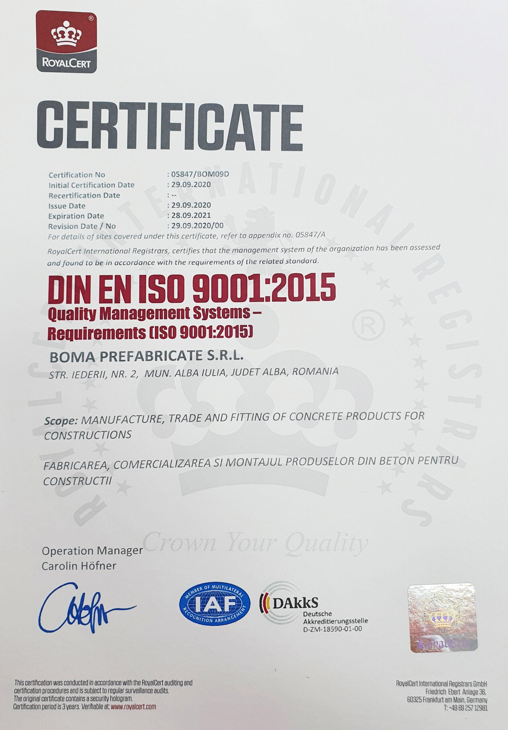 ISO BOMA 9001:2015